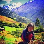 trekking to machupicchu peru  quechua girl along the salkantaytrail